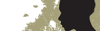 "Close up of the african woman in silhouette from the cover ""A disturbing story ... well told"""
