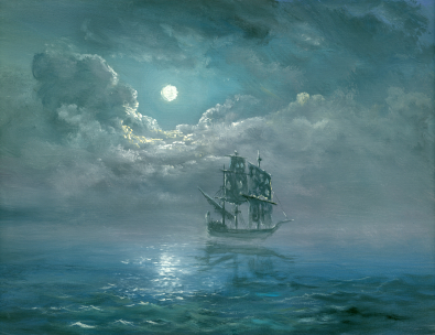 Ghost ship with full moon on a calm sea - Lady Lovibond key image.